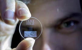 a small disk of clear material that can hold a terrabyte or more